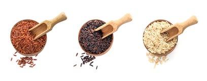 Ställ in av träbunkar och skopor med olika okokta rices på vit bakgrund royaltyfria foton