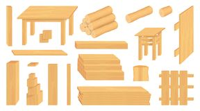 Ställ in av träjournaler, stammar och plankor Olika trähantverk skogsbruk Trähantverk som ska säljas f?kta tr??ngsommarsolrosor royaltyfri illustrationer