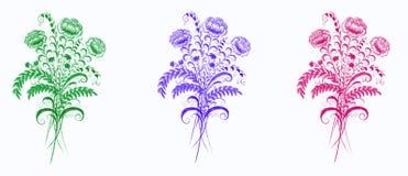 Ställ in av tre buketter på en vit bakgrund royaltyfri illustrationer