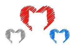 Ställ in av tre hjärtor i röda, gråa och buefärger med husdjur utdragna hjärtor för hand med den djura konturn inom stock illustrationer