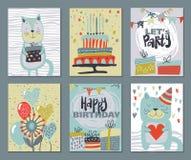 Ställ in av tre kort för parti för lycklig födelsedag Tecknad illustration för vektor hand vektor illustrationer