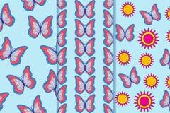 Ställ in av tre sömlösa modeller med fjärilar och blommor i en stil Användas för tegelplattan, tapeten, textiler, kan inpackning, arkivfoto