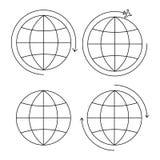 Ställ in av tunn linje för fyra jordsymboler royaltyfri illustrationer