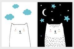 Ställ in av två älskvärda barnkammarevektorkonster Utdragna katter för vit abstrakt hand royaltyfri illustrationer