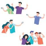 Ställ in av ungdomaroch tonåriga par som gör selfie stock illustrationer