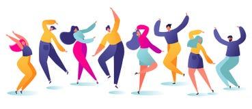 Ställ in av ungt lyckligt dansa folk Man och kvinnlig för partidansaretecken som isoleras på vit bakgrund Enjoyi för unga män och vektor illustrationer