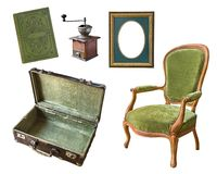 Ställ in av 5 ursnygga gamla tappningobjekt Resväska bok, kaffekvarn, ram, stol bakgrund isolerad white arkivbild