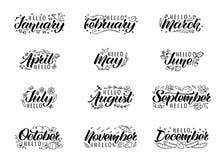 Ställ in av utdragen bokstäver för hand med namn av månader och klotter stock illustrationer