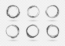 Ställ in av utdragna cirkelramar för hand Abstrakta Grungeklotterramar som isoleras på vit bakgrund abstrakt ramset stock illustrationer