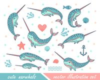 Ställ in av utdragna gulliga roliga narval för hand Klotterval för tryckdesigner, affischer, t-skjortor vektor illustrationer