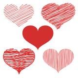 Ställ in av utdragna hjärtaklotter för hand Romantiska designbeståndsdelmallar för kort, bröllop, garneringar vektor vektor illustrationer