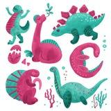 Ställ in av 5 utdragna texturerade tecken för gullig dinosauriefärghand Dino plan handdrawn clipart Skissa den jurassic reptilen  royaltyfria bilder