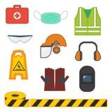 Ställ in av utrustning för vektorillustrationsäkerhet stock illustrationer