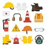 Ställ in av utrustning för vektorillustrationsäkerhet royaltyfri illustrationer