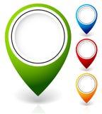 Ställ in av vektoröversiktsmarkörer, med olika färger royaltyfria bilder