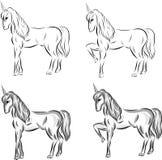 Ställ in av vektor skissar enhörningar vektor illustrationer