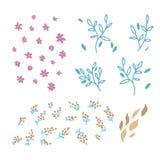 Ställ in av vektorhanden som dras för att klottra blom- beståndsdelar Garneringbeståndsdelar för inbjudan för enkel design, bröll vektor illustrationer