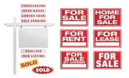 St?ll in av vektorReal Estate tecken med plakat - bygg dina egna royaltyfria bilder