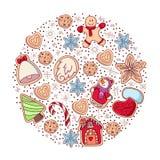 Ställ in av vektorsymboler av ljust rödbrun brödkakor i plan stil Pepparkakamän och julgran, stjärna, hjärta, klocka royaltyfri illustrationer