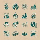 Ställ in av vektorsymboler på temat av ekologi-, global uppvärmning- och ekologiproblem av vår planet stock illustrationer