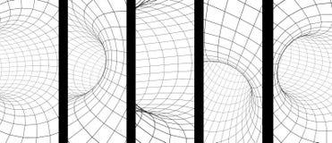 Ställ in av vertikala eller horisontalbaner med den abstrakta tunnelen 3d vektor illustrationer
