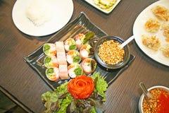 Ställ in av vietnamesisk mat fotografering för bildbyråer