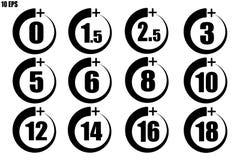 Ställ in av vuxen symbol över 0 till 18 år gammal svart tunn linje royaltyfri illustrationer
