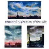 Ställ in av vykort med stadslandskapet vektor illustrationer