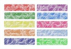 Ställ in baner rengöringsduk eller rengöringsduktitelraden som är färgrik, original Arkivfoto