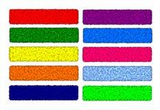 Ställ in baner rengöringsduk eller rengöringsduktitelraden som är färgrik, original Arkivfoton
