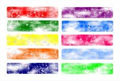 Ställ in baner rengöringsduk eller rengöringsduktitelraden som är färgrik, original Royaltyfri Illustrationer