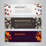 Ställ in banersamlingen med polygonal mosaikbakgrunder för abstrakt mjuk färg Arkivfoton