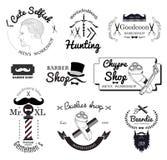 Ställ in barberaren shoppar logo, märker, emblem och designbeståndsdelen Royaltyfria Bilder