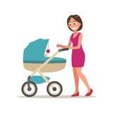 Ställ in barnvagn Plan vektorillustration för färg som isoleras på vit royaltyfri illustrationer