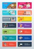 Ställ in begreppslön per klick, start och Analitics stock illustrationer