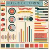 Ställ in beståndsdelar av den retro infographicsen. Vektor Royaltyfria Bilder