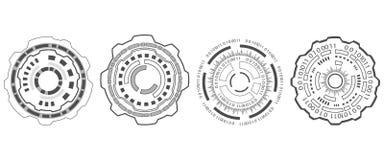 Ställ in beståndsdelar Hud Design för den futuristiska manöverenheten, Infographic beståndsdelar Arkivbild