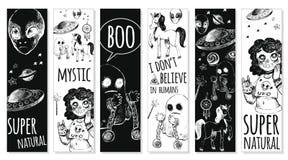 Ställ in bokmärker med mystiska objekt royaltyfri illustrationer