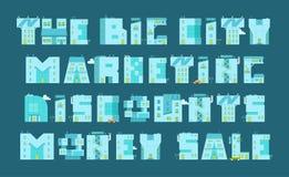 Ställ in bokstav-byggnader Ord som marknadsför rabattpengarförsäljning Royaltyfri Foto
