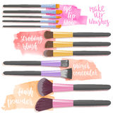 Ställ in borstar för makeup Skönhetobjektsamling royaltyfri illustrationer