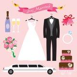 ställ in bröllop stock illustrationer