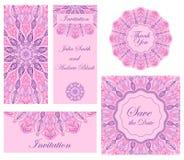 ställ in bröllop Inbjudan, tacka dig cards, sparar datumkorten Arkivfoto