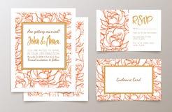 Ställ in bröllopinbjudan Arkivbilder