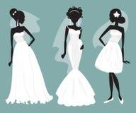 Ställ in brudar i olika bröllopsklänningar också vektor för coreldrawillustration Royaltyfria Foton
