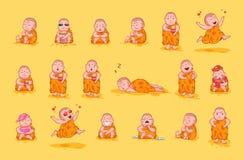 Ställ in Buddha för det lyckliga teckenet för illustrationen för sinnesrörelse för emoticonen för emojien för satssamlingsklister vektor illustrationer