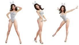 Ställ in Bunny Girl bakgrund isolerade ben long över sexig vit kvinna Röda baddräktskor Royaltyfri Fotografi