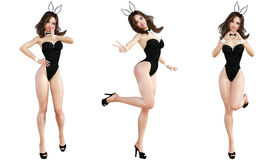 Ställ in Bunny Girl bakgrund isolerade ben long över sexig vit kvinna Röda baddräktskor Royaltyfria Bilder