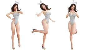 Ställ in Bunny Girl bakgrund isolerade ben long över sexig vit kvinna Röda baddräktskor Royaltyfri Foto