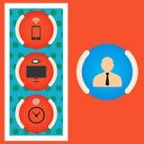 Ställ in chefdatoren, smartphonen och klockan eps Royaltyfria Foton