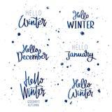 Ställ in citationstecken om vinter stock illustrationer